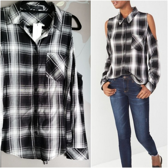 e56a04875 Santuary Tops | Delaney Cold Shoulder Plaid Button Down | Poshmark
